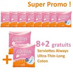 Always - Ultra Thin de 80 Serviettes hygiéniques - 10 Packs de 8 Serviettes hygiéniques taille Long sur Les Looloos