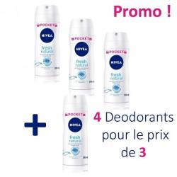 Nivea - Fresh Natural de 4 Deodorants - 4 au prix de 3 taille Pocket sur Les Looloos