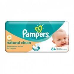 Pampers - Natural Clean de 64 Lingettes Bébés sur Les Looloos