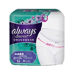 Pack 12 culottes incontinence ALWAYS DISCREET Normal sur Les Looloos
