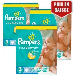 Giga Pack 246 Couches Pampers Active Baby Dry taille 3 sur Les Looloos