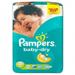 34 Couches Pampers Baby Dry taille 3 sur Les Looloos