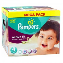 168 Couches Pampers Active Fit Premium Protection taille 4 sur Les Looloos