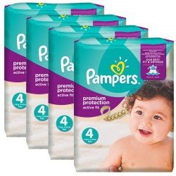 336 Couches Pampers Active Fit Premium Protection taille 4 sur Les Looloos