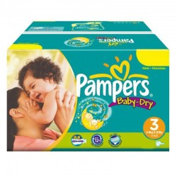 374 Couches Pampers Baby Dry taille 3 sur Les Looloos