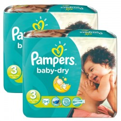 170 Couches Pampers Baby Dry taille 3 sur Les Looloos