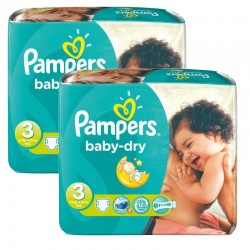 102 Couches Pampers Baby Dry taille 3 sur Les Looloos