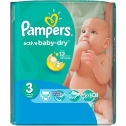 82 Couches Pampers Active Baby Dry taille 3