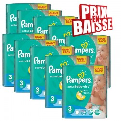 656 Couches Pampers Active Baby Dry taille 3 sur Les Looloos