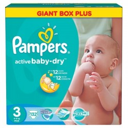 820 Couches Pampers Active Baby Dry taille 3 sur Les Looloos