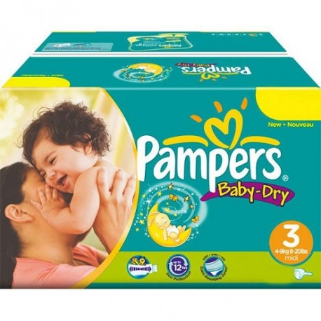 928 Couches Pampers Baby Dry taille 3 sur Les Looloos