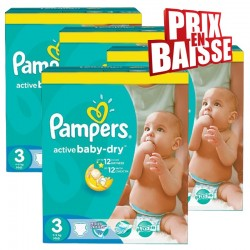 75 Couches Pampers Active Baby Dry taille 3 sur Les Looloos