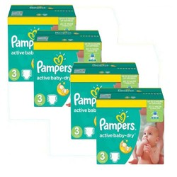 105 Couches Pampers Active Baby Dry taille 3 sur Les Looloos