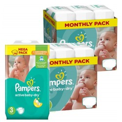 180 Couches Pampers Active Baby Dry taille 3 sur Les Looloos