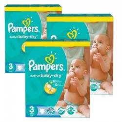 195 Couches Pampers Active Baby Dry taille 3 sur Les Looloos