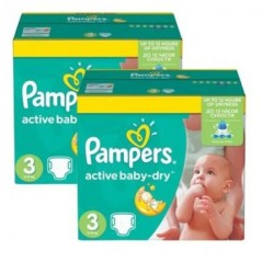 210 Couches Pampers Active Baby Dry taille 3 sur Les Looloos