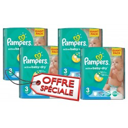 270 Couches Pampers Active Baby Dry taille 3 sur Les Looloos