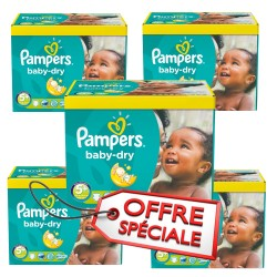 672 Couches Pampers Baby Dry taille 5+ sur Les Looloos