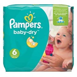 96 Couches Pampers Baby Dry taille 6 sur Les Looloos