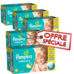 192 Couches Pampers Baby Dry taille 6 sur Les Looloos