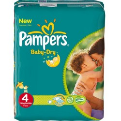 75 Couches Pampers Baby Dry taille 4 sur Les Looloos
