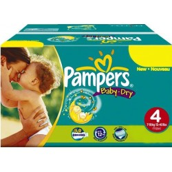 100 Couches Pampers Baby Dry taille 4 sur Les Looloos