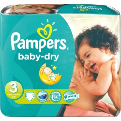 120 Couches Pampers Baby Dry taille 3 sur Les Looloos