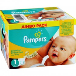110 Couches Pampers Premium Protection taille 1 sur Les Looloos