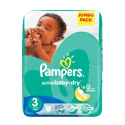 124 Couches Pampers Active Baby Dry taille 3 sur Les Looloos