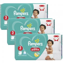 190 Couches Pampers Baby Dry Pants taille 3 sur Les Looloos