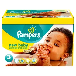 136 Couches Pampers New Baby Premium Protection taille 3 sur Les Looloos