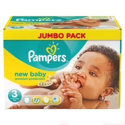 Maxi mega pack 408 Couches Pampers New Baby Premium Protection taille 3 sur Les Looloos