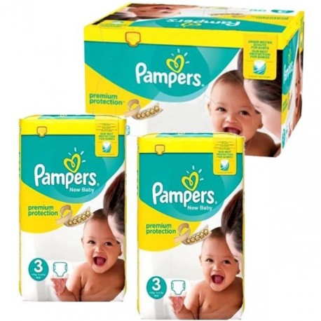 612 Couches Pampers New Baby Premium Protection taille 3 sur Les Looloos