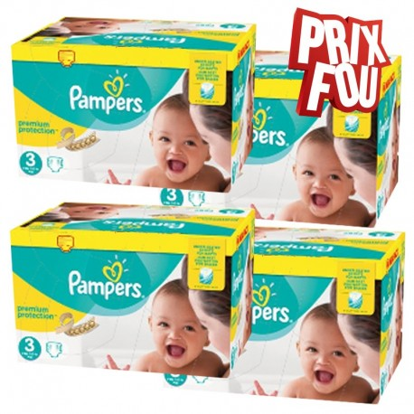290 Couches Pampers Premium Protection taille 3 sur Les Looloos