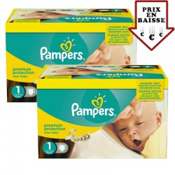448 Couches Pampers Premium Protection taille 1 sur Les Looloos
