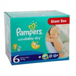 96 Couches Pampers Active Baby Dry taille 6 sur Les Looloos