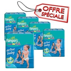 336 Couches Pampers Active Baby Dry taille 6 sur Les Looloos