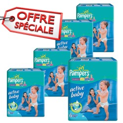 432 Couches Pampers Active Baby Dry taille 6 sur Les Looloos