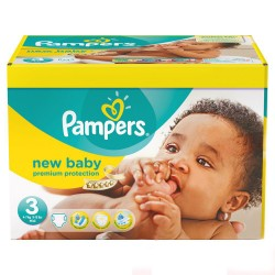 60 Couches Pampers New Baby Premium Protection taille 3 sur Les Looloos