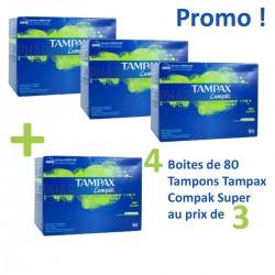 Tampax - Compak 320 Tampons - 4 au prix de 3 taille super avec applicateur sur Les Looloos