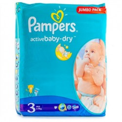 68 Couches Pampers Active Baby Dry taille 3 sur Les Looloos