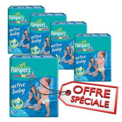 240 Couches Pampers Active Baby Dry taille 6 sur Les Looloos
