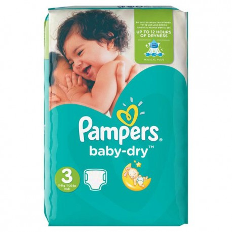 90 Couches Pampers Baby Dry taille 3 sur Les Looloos