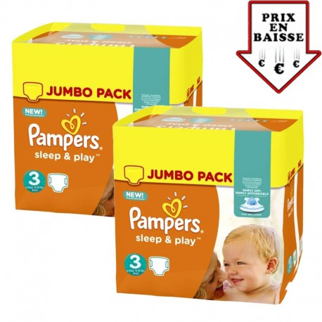 156 Couches Pampers Sleep & Play taille 3 sur Les Looloos