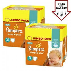 234 Couches Pampers Sleep & Play taille 3 sur Les Looloos